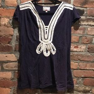 Anthropologie Navy Shirt with cinched waist size L